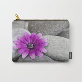 Zen Pink Daisy Pebble Still Life Carry-All Pouch