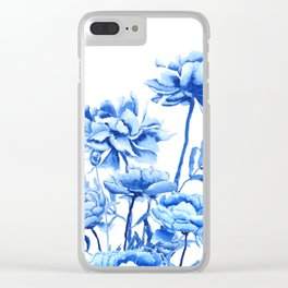 blue peonies Clear iPhone Case