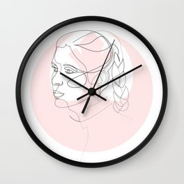 Princess Organa - single line art Wall Clock