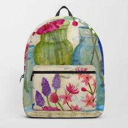 Springs Flowers in Old Jars Backpack