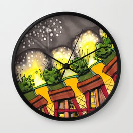 Fireworks Explosion Architectural Design 88 Wall Clock