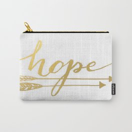 Gold Quote Hope Brushstroke Watercolor Ink Typography Classic Calligraphy Peace Carry-All Pouch