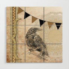 Crow, Brown Banner, Doily, Digital Design Wood Wall Art