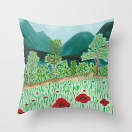 poppy-coquelicot Throw Pillow