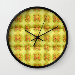 Quilted Style Lime Green Art Yellow Daffodils  Pattern Wall Clock
