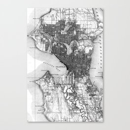 Vintage Map of Seattle Washington (1908) BW Canvas Print