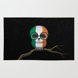 Baby Owl with Glasses and Irish Flag Rug