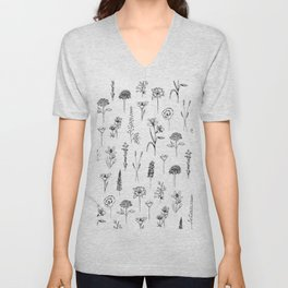 Patagonian wildflowers white Unisex V-Neck