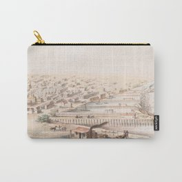 Vintage Pictorial Map of Galveston TX (1855) Carry-All Pouch