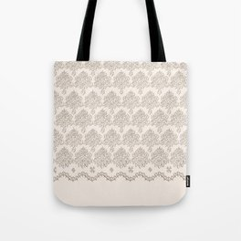 """Damask """"Cafe au Lait"""" Chenille with Lacy Edge Tote Bag"""