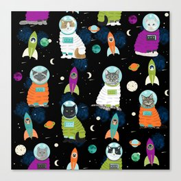Space Cats pet portraits cute cat gifts cat lady outer space cadet rockets Canvas Print