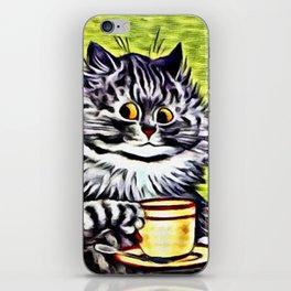 "Louis Wain's Cats ""Kitty On Coffee Break"" iPhone Skin"