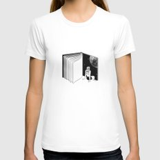 Reading is Dreaming with Your Eyes Open White Womens Fitted Tee MEDIUM