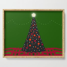Christmas Tree with Glowing Star Serving Tray