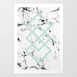 White Marble Concrete Look Mint Green Geometric Squares Art Print