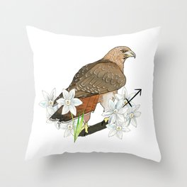 Sagittarius Hawk Throw Pillow