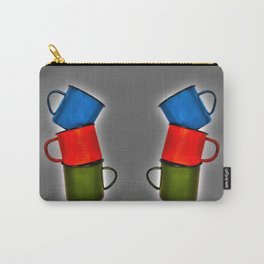 Vintage green, blue, red enamel mugs in modern look Carry-All Pouch