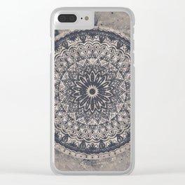 Mandala Geometric Grey and Navy Blue Clear iPhone Case