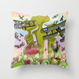 Plants Vs Planes Throw Pillow