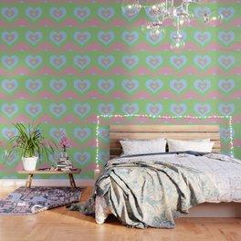 Radiating Hearts Pink, Blue, and Green Wallpaper