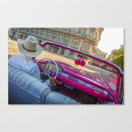 Pink taxi ride in Old Havana Canvas Print