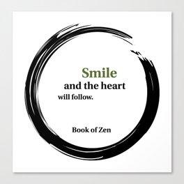 Zen Smile & Heart Quote Canvas Print