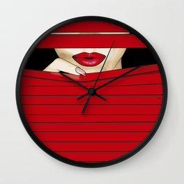 Red Shutter Wall Clock