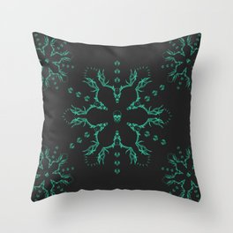 Snowflake Skuls: Mint Throw Pillow