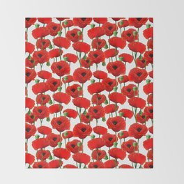 Red Poppy Pattern Throw Blanket