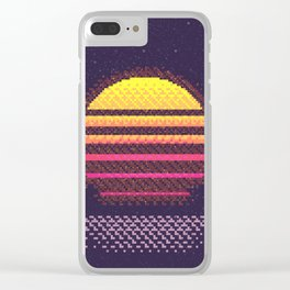 1980s Neon Sunset Clear iPhone Case