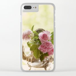 Pink English Roses in a silver Pot- Vintage Rose Stilllife Photography Clear iPhone Case