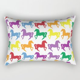 COLORFUL HORSES Pop Art Rectangular Pillow
