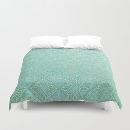 Green Watercolor Tile Duvet Cover