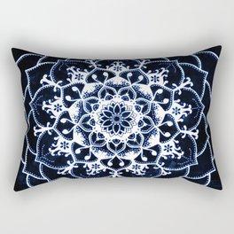 Indigo Glowing Spirit Blue & White Flower Mandala Rectangular Pillow