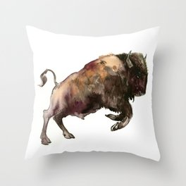 Bison, Bull Throw Pillow