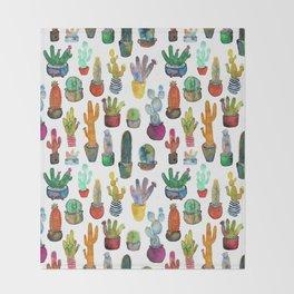 Funky Rainbow Cactus Pattern Throw Blanket