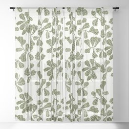 Fig Leaf Pattern Sheer Curtain