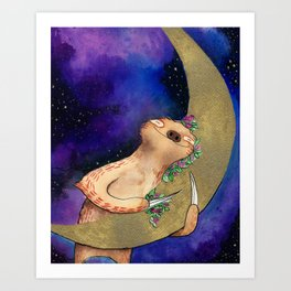 Sloth Hugs Moon Art Print