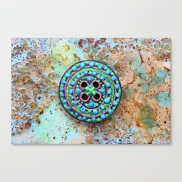 Button for happiness Canvas Print