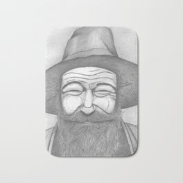 Bearded Man in Hat Bath Mat
