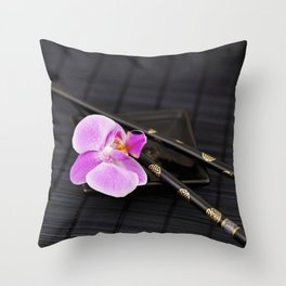 Zen pink Orchid flower on black Throw Pillow