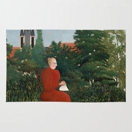 Portrait of a Woman in a Landscape - Henri Rousseau Rug