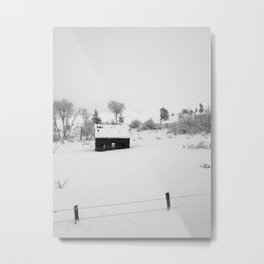 Farmhouse in snow Metal Print