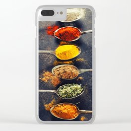 Colorful spices in metal spoons Clear iPhone Case