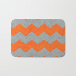 chevron- gray and orange Bath Mat