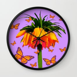 LILAC YELLOW MONARCH BUTTERFLIES CROWN IMPERIAL Wall Clock