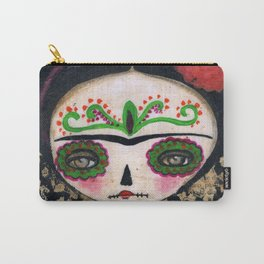 Frida The Catrina And The Devil - Dia De Los Muertos Mixed Media Art Carry-All Pouch