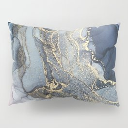 Blush, Payne's Gray and Gold Metallic Abstract Pillow Sham
