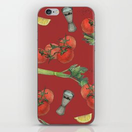 cocktail recipe pattern_ bloody mary iPhone Skin