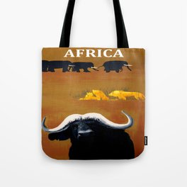 Vintage Africa Travel - Water Buffalo Tote Bag
